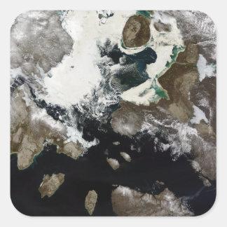 Sea ice and sediment visible in Nunavut, Canada Square Sticker