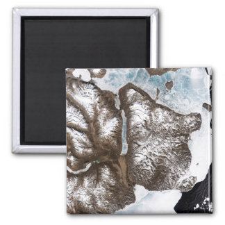 Sea ice lines the shoreline in eastern Greenlan 2 Inch Square Magnet
