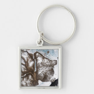Sea ice lines the shoreline in eastern Greenlan Silver-Colored Square Keychain