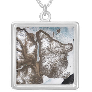 Sea ice lines the shoreline in eastern Greenlan Square Pendant Necklace