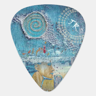 Sea inspired collage - add your own monogram guitar pick