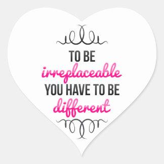 Sea irreemplazable sea diferente calcomania de corazon personalizadas