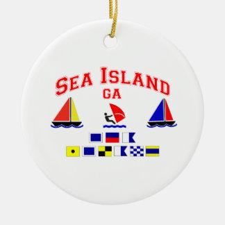Sea Island-GA. Double-Sided Ceramic Round Christmas Ornament