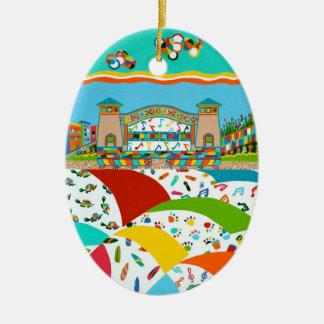 Sea Isle City Band Shell Double-Sided Oval Ceramic Christmas Ornament