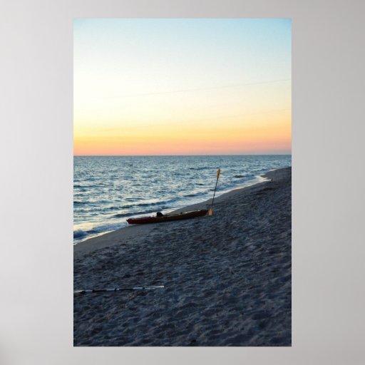 Sea Kayak On Beach Sand Captiva Island Poster
