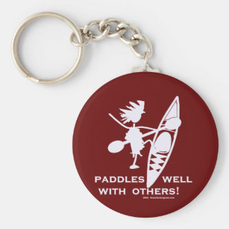 Sea Kayak Paddles Well White Keychain