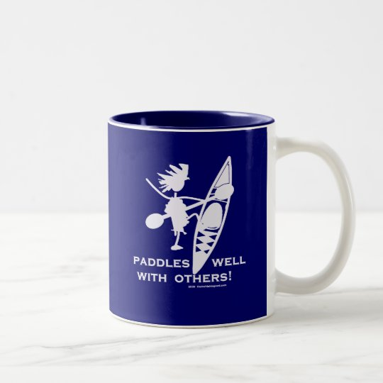 Sea Kayak Paddles Well White Two-Tone Coffee Mug