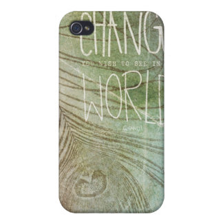 Sea la cita de Gandhi del cambio iPhone 4 Fundas