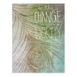 Sea la cita de Gandhi del cambio Tarjetas Postales