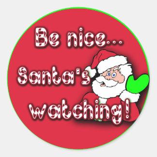 ¡Sea la observación… de Santa agradable! EL TIP Pegatinas Redondas