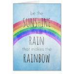 Sea la sol en la lluvia felicitación