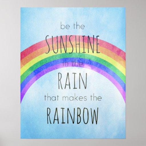 Sea la sol en la lluvia póster