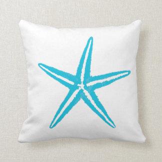 Sea Life Aqua Starfish Big Square Throw Pillow