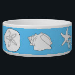 "Sea Life Art, Blue Ceramic Animal Food Bowl<br><div class=""desc"">White ceramic food bowl for any animal.  Your pet dog,  cat or iguana will love this pretty,  blue dish decorated in original art containing starfish,  a sand dollar,  conchs and other tropical seashells.  There is no text or template for this bowl.  Two sizes to choose from.</div>"