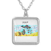 Sea life art silver plated necklace