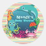 Sea Life Baby Shower, Bright Rainbow Stripes Classic Round Sticker