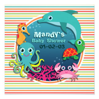 Sea Life Baby Shower Bright Rainbow Stripes Personalized Announcement