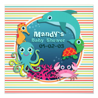 Sea Life Baby Shower, Bright Rainbow Stripes Personalized Announcement