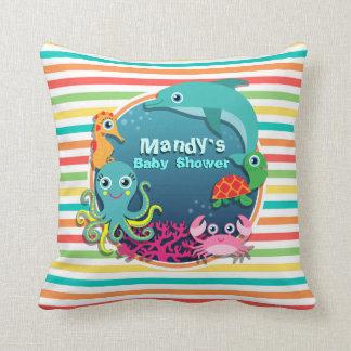 Sea Life Baby Shower Bright Rainbow Stripes Throw Pillows