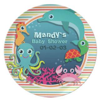 Sea Life Baby Shower, Bright Rainbow Stripes Dinner Plate