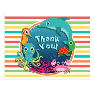 Sea Life Baby Shower, Bright Rainbow Stripes Postcard