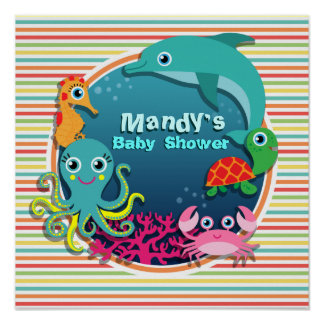 Sea Life Baby Shower, Bright Rainbow Stripes Poster