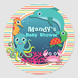 Sea Life Baby Shower, Bright Rainbow Stripes Classic Round Sticker