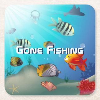 Sea Life Cartoon Square Paper Coaster