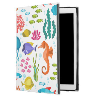Sea-life colorful seamless pattern illustration iPad pro case