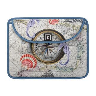 Sea Life Compass Map Sleeve For MacBooks