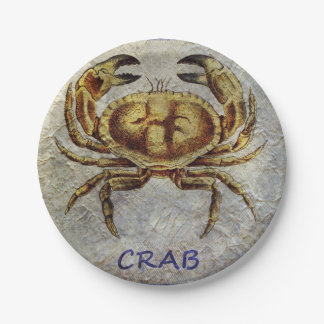 Sea Life Crab on Blue and Cream Paper Plate