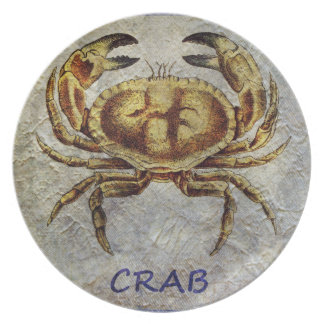Sea Life Crab on Blue and Cream Plate