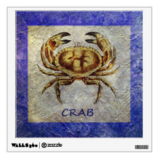 Sea Life Crab on Blue and Cream Wall Decal