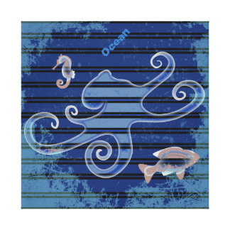Sea Life Deep Blue Stripe Underwater Collage Canvas Print