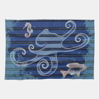 Sea Life Deep Blue Stripe Underwater Collage Kitchen Towel