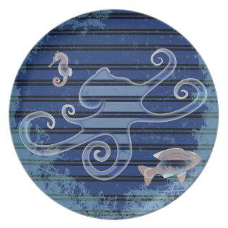 Sea Life Deep Blue Stripe Underwater Collage Dinner Plate