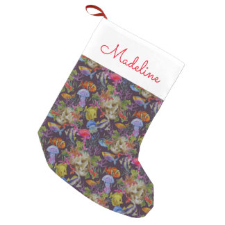 Sea Life Grunge Pattern | Add Your Name Small Christmas Stocking