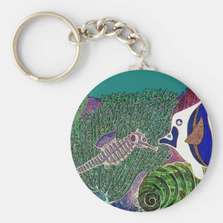 Sea Life in the Reef Design Keychains