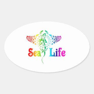 Sea Life Manta Ray Oval Sticker