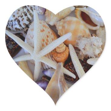 Beach Themed Sea Life Menagerie Heart Sticker