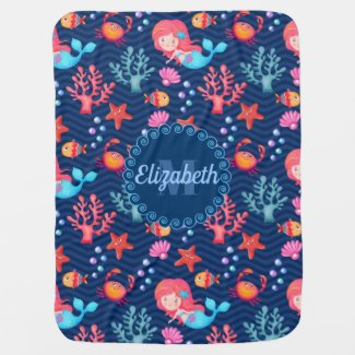 Sea Life - Mermaids Starfish and Coral Baby Blanket