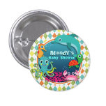 Sea Life on Colorful Argyle; Baby Shower 1 Inch Round Button