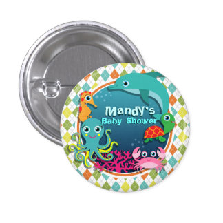 Sea Life on Colorful Argyle; Baby Shower Buttons