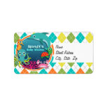 Sea Life on Colorful Argyle; Baby Shower Label