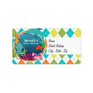 Sea Life on Colorful Argyle; Baby Shower Address Label