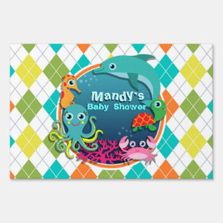 Sea Life on Colorful Argyle; Baby Shower Lawn Sign