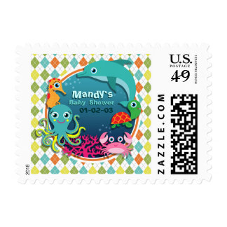 Sea Life on Colorful Argyle; Baby Shower Postage