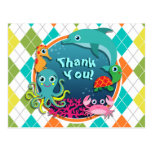 Sea Life on Colorful Argyle; Baby Shower Postcard
