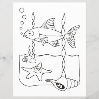 Sea Life Scene Coloring Book Page
