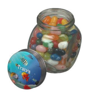 Sea Life Scene Glass Candy Jars